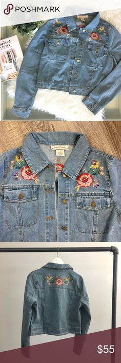 Floral Embroidered Denim Jacket Vintage-inspired Cropped denim jacket with embroidered floral patches. Medium wash. Brand new. Please carefully review each photo before purchase as they are the best descriptors of the item. My price is firm. No trades. First come, first served. Thank you! :) Jackets & Coats Jean Jackets
