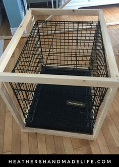 DIY dog crate cover {Heather's Handmade Life} – dog kennel indoor Dog Crate Cover, Diy Dog Crate, Dog Kennel Cover, Diy Dog Kennel, Dog Kennels, Wooden Dog Crate, Wooden Crates, Dog Crate End Table, Dog Kennel End Table
