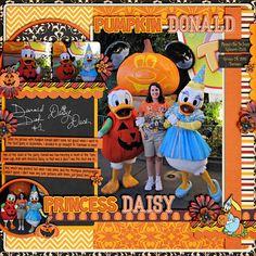 Pumpkin Donald and Princess Daisy Disney scrapbook page layout idea