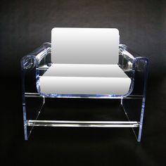 """MONROE CHAIR     Materials: Clear acrylic with upholstered cushions  Dimensions: 32""""W x 32""""D x 29""""H (18"""" seat height)    Options: Ultra suede, wool, mohair, leather, cowhide fur / Clear, color, or frosted acrylic"""