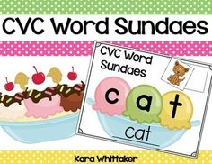 FREEBIE CVC Ice Cream Sundaes: These CVC word building mats make a fun end of year literacy or independent work center!