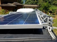 Sprinter van custom roof rack with solar panel The tendancy toward homes which are powered by green energy sources Solar Energy Panels, Best Solar Panels, Solar Energy System, Solar Power, Solar Roof Tiles, Solar Projects, Solar Panel Installation, Solar House, Solar Panel System