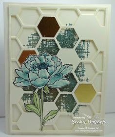 2015 Cardstock: Very Vanilla Stamp Set: You've Got This Accessories: Hexagon Hive Thinlit, Big Shot, Gold Embossing Powder, Heat Tool Card Making Inspiration, Making Ideas, Hexagon Cards, Stamping Up Cards, Rubber Stamping, Stampinup, Flower Cards, Flower Stamp, Stampin Up Catalog