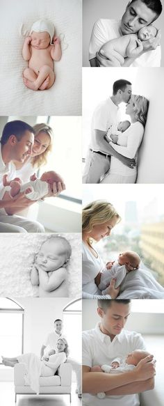 Mother father baby and could throw in siblings. All in white by a window.  Beautiful newborn portrait that also incorporates the family and captures the emotion of having a new addition to the family