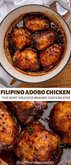 Adobo Chicken is a classic Filipino recipe cooked in soy sauce, garlic, vinegar . - Adobo Chicken is a classic Filipino recipe cooked in soy sauce, garlic, vinegar and peppercorns tha - Chicken Thights Recipes, Chicken Parmesan Recipes, Chicken Salad Recipes, Chicken Ideas, Chicken Recipes Filipino, Dinner Ideas With Chicken, Best Filipino Recipes, One Pot Chicken, Parmesan Sauce