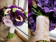 Purple and lace #wedding bouquet