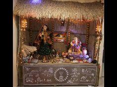Eco Friendly Ganapati Gauri Decoration at home Gauri Decoration, Kalash Decoration, Thali Decoration Ideas, Desi Wedding Decor, Diy Wedding Decorations, Festival Decorations, Eco Friendly Ganpati Decoration, Ganpati Decoration Design, Eco Friendly Ganesha