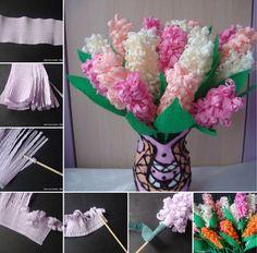 offrir des fleurs en papier crépon- bouquet de jacinthes en papier pour la fête des mères
