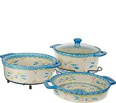 Temp-tations Old World Cook & Look 3pc Round Baker Set