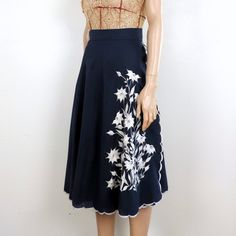 70s Vintage Embroidered Blue Wrap Skirt  1970s by poetryforjane, $18.00