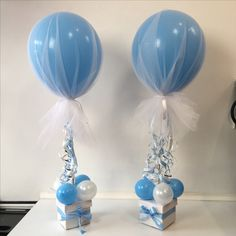"Lovely tulle covered 16"" balloon. Built off a frame and decorated Box base. Lovely for a Christening today"