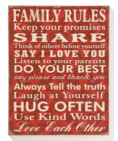 Red 'Family Rules' Wall Sign #zulily #zulilyfinds