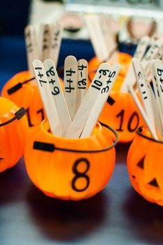 """""""We don't do halloween, but love this idea using other containers!"""" (Halloween Math - addition facts using mini jack-o-lanterns. I love that the popsicle sticks can be reused and put in any seasonal container. Math Classroom, Kindergarten Math, Teaching Math, Teaching Ideas, Classroom Ideas, Preschool, Math Addition, Addition And Subtraction, Addition Facts"""