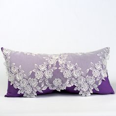 Shabby Chic Pillow, Victorian Pillow, Bridal Pillow,  Adorned with Lace and Purple Fabric. $48.00, via Etsy.