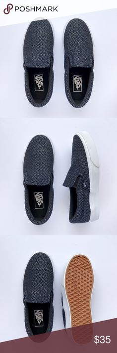 New Lame Woven Slip-On Never been worn, black woven fabric with silver metallic thread . W/O box. Women's size 7 / Men's size 5.5 Vans Shoes Sneakers