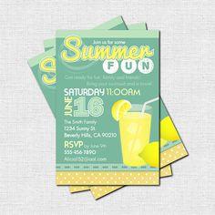 Personalized Summer Fun LEMONADE Themed Backyard BBQ Party Invitations (printable). $9.00, via Etsy.