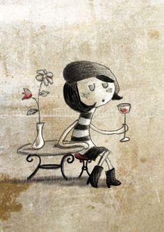 "Illustration art print parisian girl  in black and white 5.8"" x 8.3"" A5 $37.74"