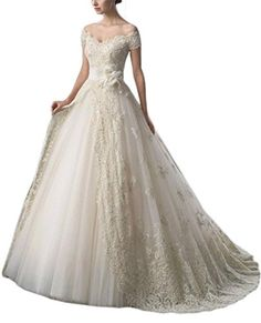 MengLu Appliques Lace Tulle Aline Wedding Dress Vneck Train Bridal Gown Size 16w -- Learn more by visiting the image link.