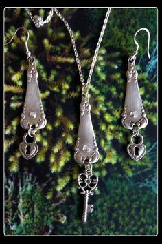 Handmade silver key and lock spoon pendant by AnnasHaberdashery Fork Jewelry, Metal Jewelry, Beaded Jewelry, Silver Jewelry, Recycled Jewelry, Handmade Jewelry, Jewelry Crafts, Jewelry Art, Silverware Jewelry