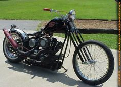 Photo of Oldschool Sportster Short Chopper with 1980 Ironhead Engine in a Paughco Rigid Frame by Mike.