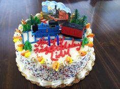 Thomas & Friends themed birthday cake courtesy of Sweet Eats Bakery in Voorhees, NJ.