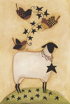 Country & Folk Art Series B - Art Painting Folk Art, Americana Art, Sheep Paintings, Art Series, Primitive Painting, Painting Crafts, Sheep Art, Folk, Country Art