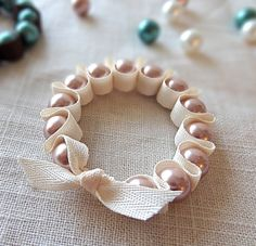Make #DIY Ribbon & Pearl #bracelets with Twinkle and Twine, featured @savedbyloves