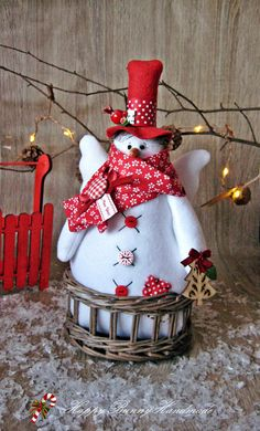 Snowman/ Snowman with wings/Fabric snowman/ OOAK doll/ Christmas decor/ Home decor/Primitive decor Doll Home, Christmas Decorations, Holiday Decor, Personalized Christmas Ornaments, Ooak Dolls, Christmas Snowman, Christmas And New Year, Basket Weaving, Build A Snowman