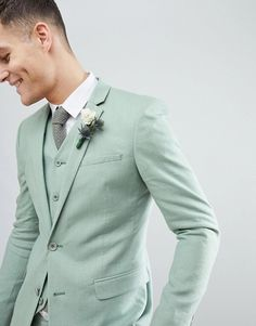 Find the best selection of ASOS DESIGN wedding super skinny suit jacket in sage green linen. Shop today with free delivery and returns (Ts&Cs apply) with ASOS! Casual Wedding Suit, Sage Wedding, Tuxedo Wedding, Wedding Suits, Smoking Verde, Green Suit Men, Boys Suits, Men In Suits, Costume Vert