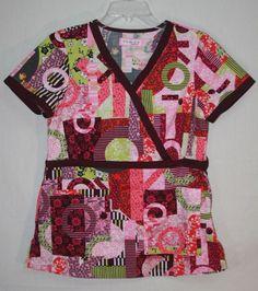 Koi Kathy Peterson Scrub Top Small Mock Wrap Style 115PR  #Koi Medical Nurses Scrubs