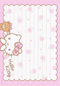 Sanrio Hello Kitty Memo (2015) | by Crazy Sugarbunny Sanrio Wallpaper, Hello Kitty Wallpaper, Kawaii Wallpaper, Hello Kitty My Melody, Sanrio Hello Kitty, Cute Stationery, Stationery Paper, Stationary, Printable Scrapbook Paper