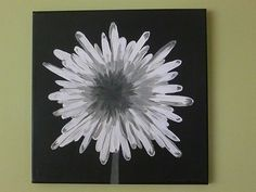 modern square painted canvas | ... white and gray modern flower acrylic painting on canvas, 12X12, square