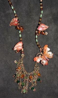Artisan Copper and Bead Butterfly Necklace Urban Mermaid Designs US | eBay