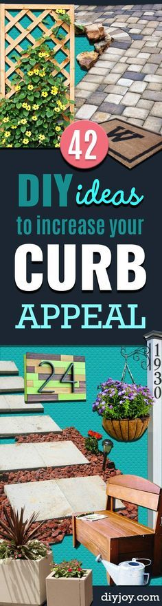 Creative Ways to Increase Curb Appeal on A Budget - Cheap and Easy Ideas for Upgrading Your Front Porch, Landscaping, Driveways, Garage Doors, Brick and Home Exteriors. Add Window Boxes, House Numbers, Mailboxes and Yard Makeovers http://diyjoy.com/diy-curb-appeal-ideas