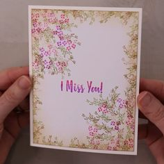 Fabric Cards, Paper Cards, Diy Cards, Cards To Make, Stampin Up Karten, Stampin Up Cards, Handmade Birthday Cards, Greeting Cards Handmade, Miss You Cards