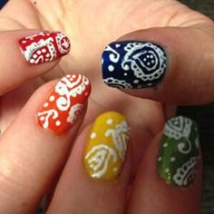 """Bandana Bonanza Seventeen.com: """"We're seriously blown away by Lyndsey's amazing paisley mani! She used a fine-tipped nail art pen (and tons of patience) to get the look."""""""