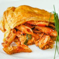 Quick and Easy Chicken Penne Timpano - turn leftover pasta and sauce into a super easy pasta pie using frozen puff pastry. So good you should plan the leftover pasta just to make this quick and easy dinner Chicken Penne Recipes, Best Chicken Recipes, Pasta Recipes, Great Recipes, Cooking Recipes, Favorite Recipes, Cooking Food, Pie Recipes, Recipies