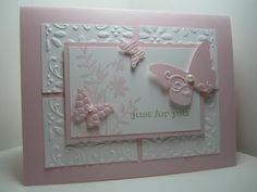 Geburtstagskarte rosa mit Schmetterlingen und Prägung