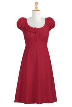 Tomato red, rosette-trim, cotton poplin dress from eShakti - customizable size.  $60 (as of 20 Jun. 2012)