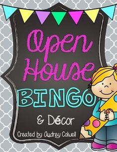 This packet includes adorable signs and a BINGO game to keep your kids and parents engaged and busy at open house or meet the teacher night. Bingo Board, Game Boards, Back To School Night, New School Year, Real Estate Seminars, Open House Signs, Sign In Sheet, Innovation Strategy, House Games