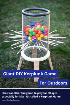 Here's another fun game to play for all ages, especially for kids. It's called a Kerplunk Game. The original Kerplunk game is small, made from plastic, and is mainly for indoor use. But to make it more interesting and to encourage kids to spend more time outdoors, I've built a Giant DIY Kerplunk Game with a wire mesh screen. This is a great backyard game for any occasion or a party. #diy #freeplans #projects #homedecor #interior #furniture #game #doityourself #homeimprovement #kids #idea