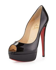 Lady Peep Patent Red Sole Pump, Black by Christian Louboutin at Neiman Marcus. If I could have any this 1 Mens New Years Eve Outfit Black High Heel Pumps, Black Patent Leather Shoes, Beige Pumps, Black Shoes, Red Leather, Stilettos, Zapatillas Peep Toe, High Heels Plateau, Christian Louboutin Outlet