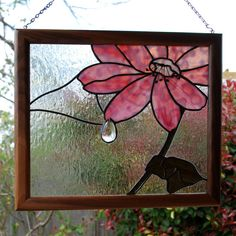 Stained Glass Panel Pink Flower with Dew Drop by aHouseofShards