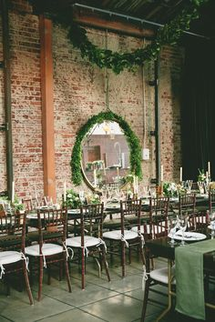 like the idea of mirrors in an urban setting. greenery vintage wedding reception inspiration