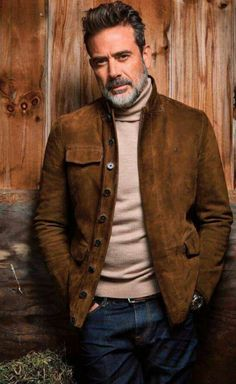 Jeffrey Dean Morgan in brown suede jacket, taupe turtleneck and jeans.