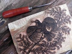 Woodcut art is created by gouging out a design on wood to create a relief painting. Similar to screen printing, this process is often repeated several time to add layers or colors.