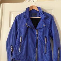 Jacket Blank nyc P/U washed blue Moto jacket.  Black lined. Chrome zippers Blank Denim Jackets & Coats
