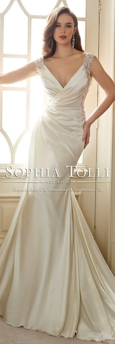 The Sophia Tolli Spring 2016 Wedding Dress Collection - Style No. Y11631 - Malika #satinweddingdress
