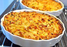 <p>Kartofler er ikke det, der tager længst tid, men de kan blive lidt kedelige som tilbehør. Indtil de nye kartofler kommer frem, er en kartoffelkage dejlig som lidt afveksling. Kartoffelkager er nemme at lave, om man laver det i en stor form, eller i små portionsforme. 600 – 700 gr revne kartofler, gulerødder, selleri, persillerod 2 hele æg 1 dl mælk eller fløde 25 gr. revet ost salt og peber Æg, mælk og revet ost blandes godt sammen, og der tilsættes salt og peber. Bland de revne…