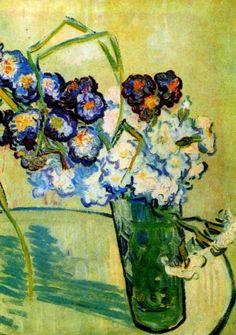 Still Life Glass with Carnations, 1890, Vincent van Gogh Medium: oil on canvas